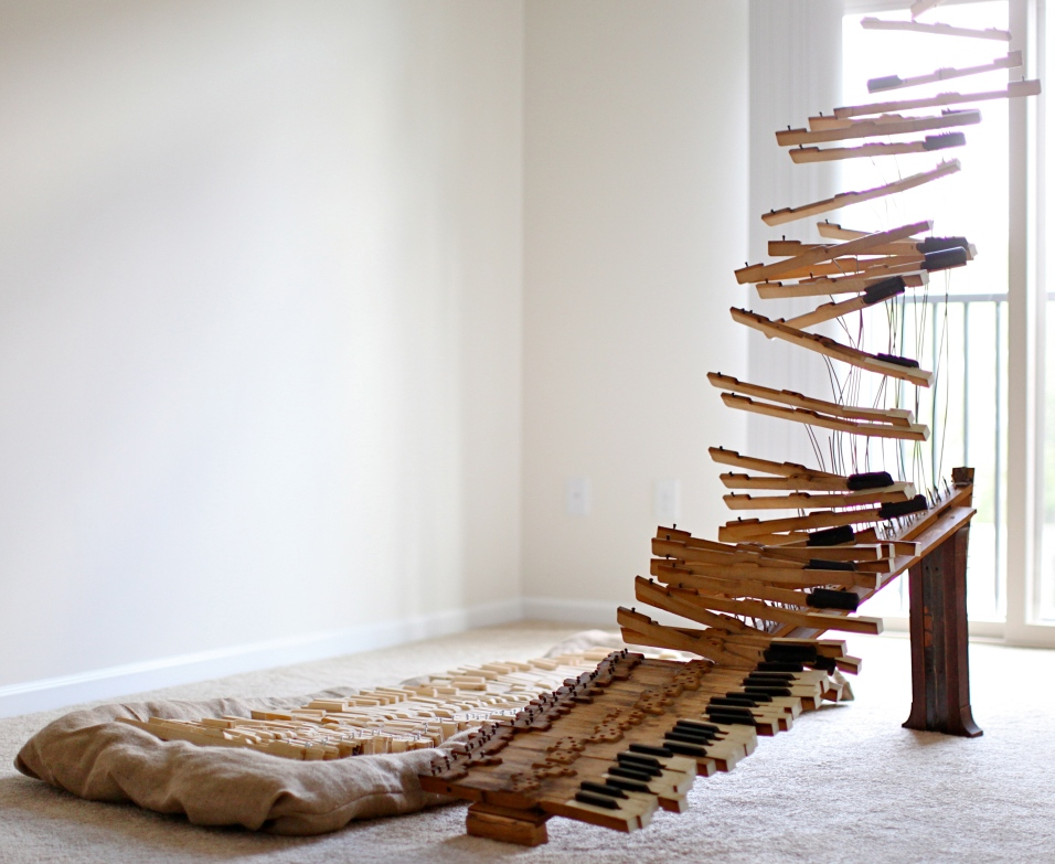 Bones at Rest and Restless Bones - piano keys, wood, steel, and burlap - 67x48x69 inches - 2010