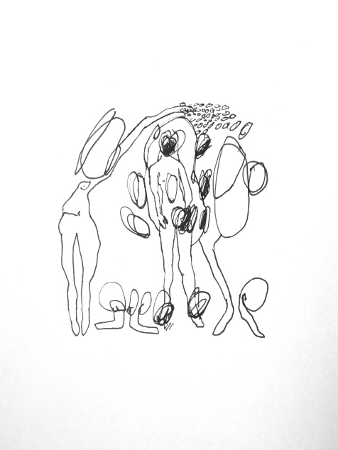 (SOLD) Collecting People - ink on paper - 8x6 inches - 2014