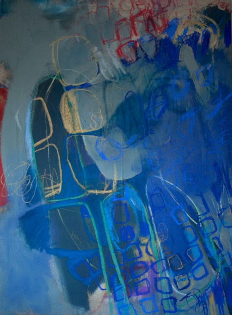 (SOLD) Walk Without Border - mixed media on canvas - 41x31 inches - 2013