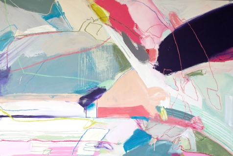 (SOLD) Fight or Flight - mixed media on canvas - 48x72 inches - 2014