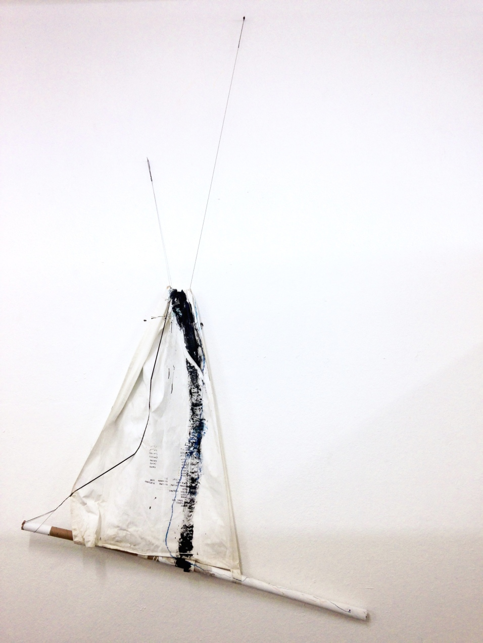 Surrender Flag (Resurrection) - cardboard tubing, rubber cords, latex paint, watercolor crayon, and thread on canvas - dimensions variable - 2015