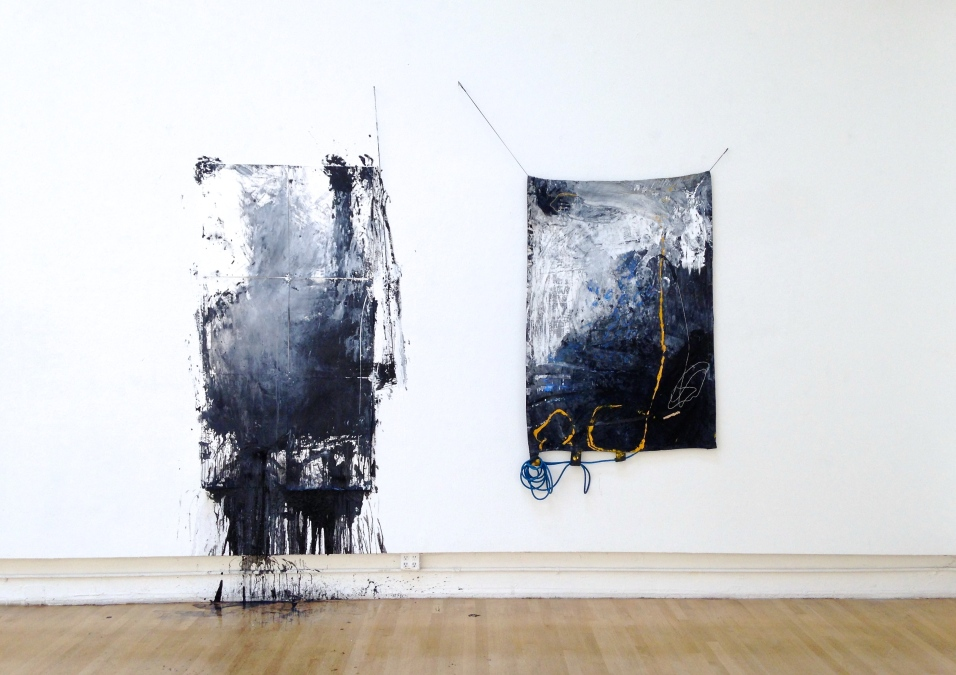 My Baggage, How I Hold It (two-piece installation) - mixed media on papers and canvas - dimensions variable - 2015