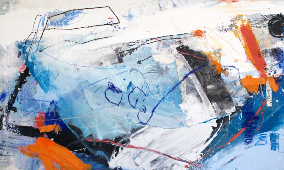 Two Sides to Change - acrylic and latex paints, pastel, graphite, ink, and tape on canvas - 46x78 inches - 2015
