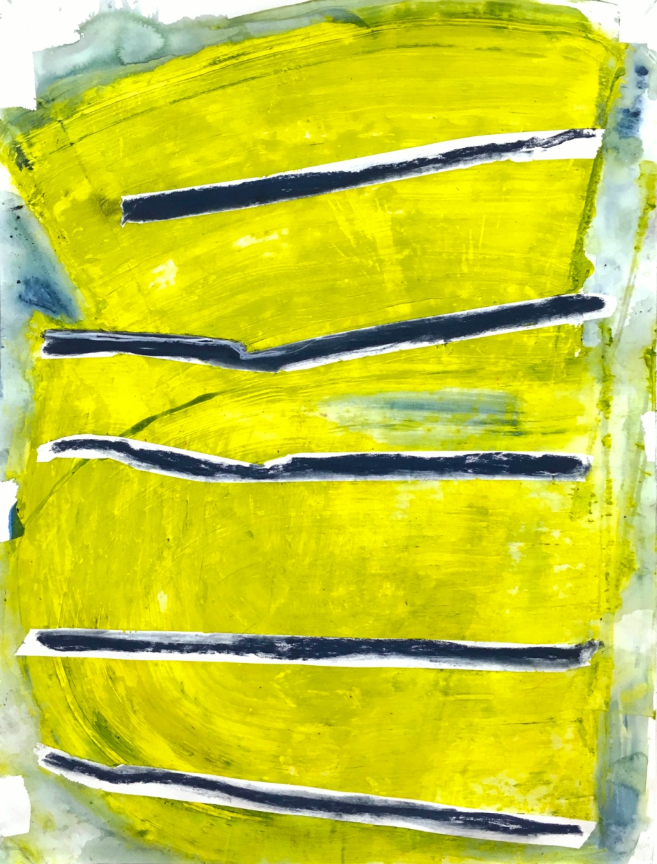 (SOLD) Bars Against Chartreuse - acrylic paint, pastel, and watercolor crayon on paper - 42x32 inches
