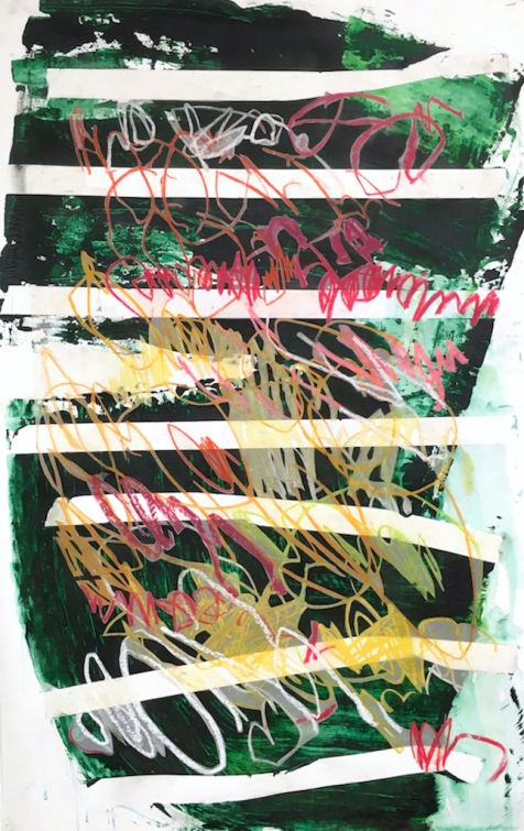 Override, I - acrylic paint, pastel, and vellum on paper - 42x27 inches - 2017
