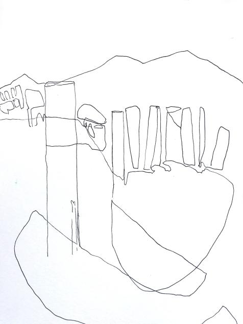 Pillaring Lake Garda - ink on watercolor paper - 12x9 inches - 2017