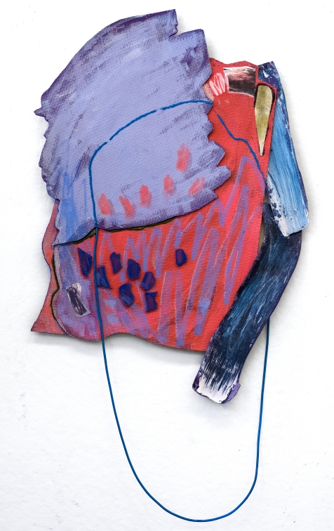 Lopsided - latex, oil, and acrylic paints, pastel, paper, and bungee on polyvinyl - 60 x 30 inches - 2017