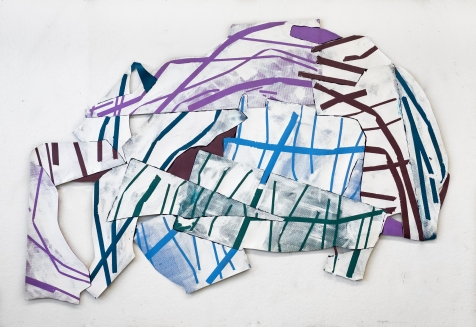 A Fractured Assembly - acrylic and polyvinyl acetate mats, 84x120 inches - 2017