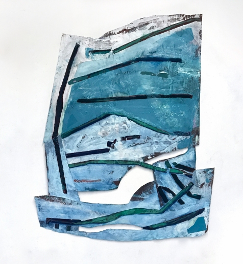 Once I was a Wave - acrylic, dry pigment, pastel, watercolor, and fabric on mat board - 70x49 inches - 2017