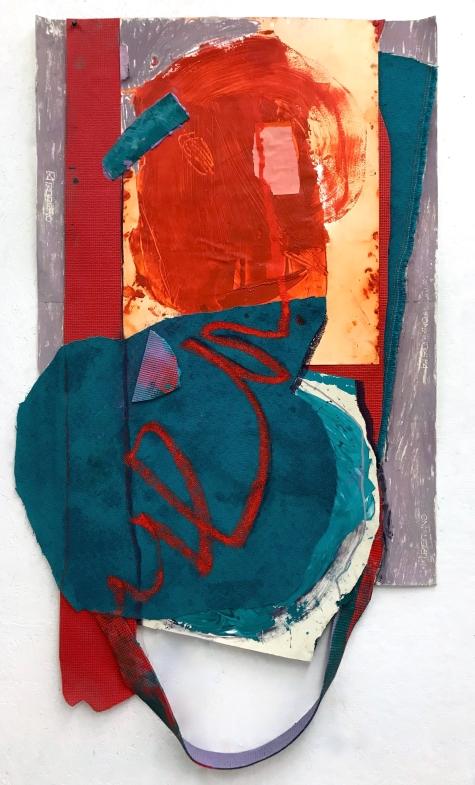 Portrait of a Portrait - acrylic, oil stick, pastel, paper and polyvinyl acetate mat - 54x28 inches - 2017